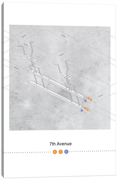 7th Avenue Station 3D Map Poster Canvas Art Print