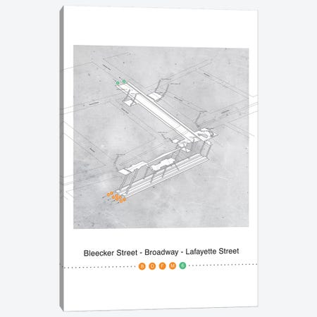 Bleecker Street - Broadway - Lafayette Street Station 3D Map Poster Canvas Print #PSN65} by Project Subway NYC Canvas Print