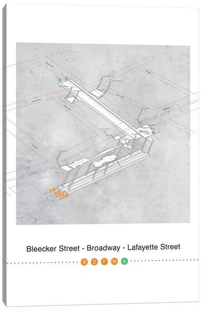 Bleecker Street - Broadway - Lafayette Street Station 3D Map Poster Canvas Art Print
