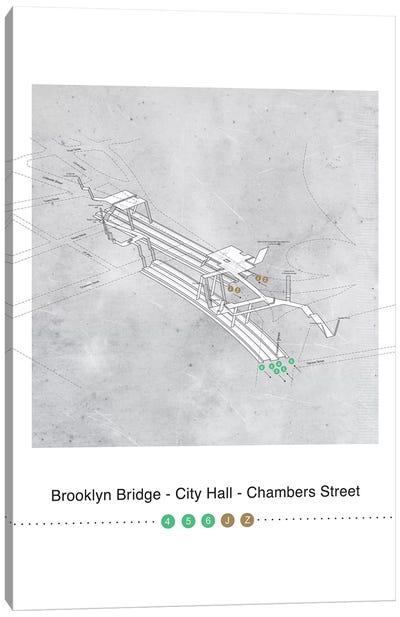 Brooklyn Bridge - City Hall - Chambers Street Station 3D Map Poster Canvas Art Print