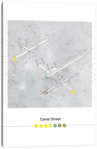 Canal Street Station 3D Map Poster Canvas Art Print