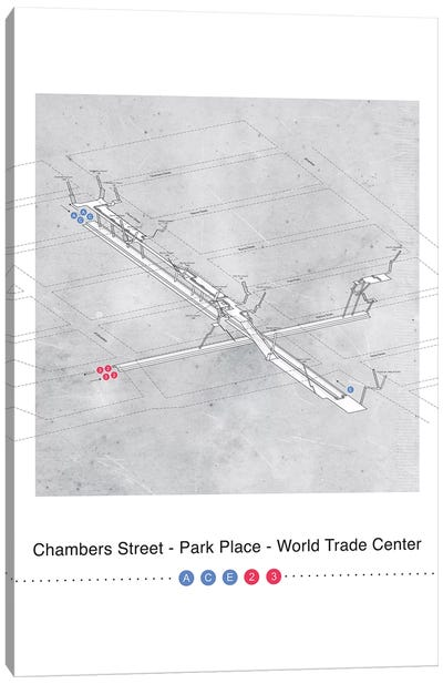 Chambers Street - Park Place - World Trade Center Station 3D Map Poster Canvas Art Print