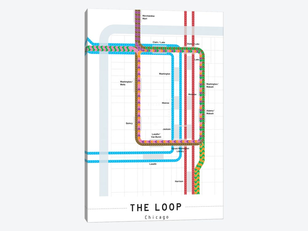 Chicago Loop Map by Project Subway NYC 1-piece Canvas Art Print