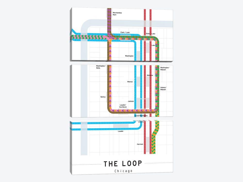 Chicago Loop Map by Project Subway NYC 3-piece Canvas Art Print