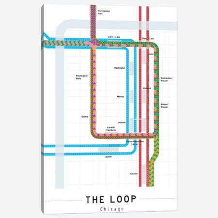 Chicago Loop Map Canvas Print #PSN71} by Project Subway NYC Canvas Print