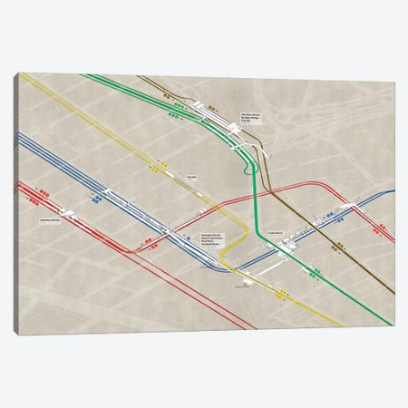 Downtown Manhattan Subway Cluster Canvas Print #PSN75} by Project Subway NYC Canvas Wall Art
