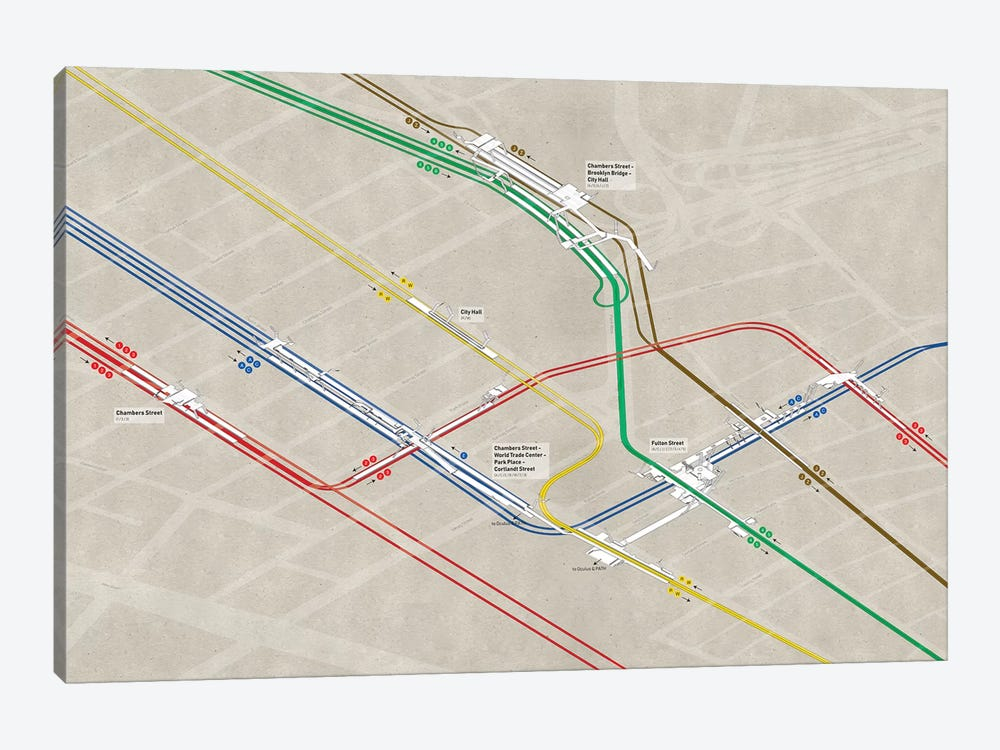 Downtown Manhattan Subway Cluster by Project Subway NYC 1-piece Art Print