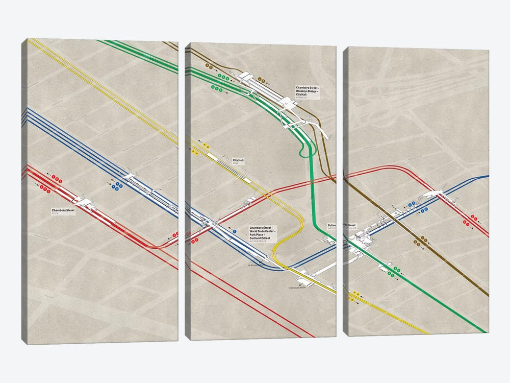 Downtown Manhattan Subway Cluster by Project Subway NYC 3-piece Canvas Print