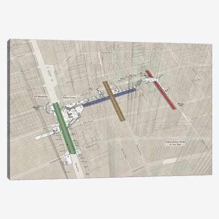 Fulton Street - Subway 3D X-Ray Canvas Print #PSN76} by Project Subway NYC Canvas Artwork
