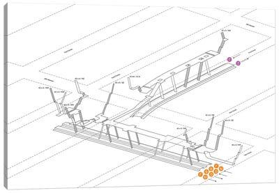 42nd Street Bryant Park Station 3D Diagram Canvas Art Print