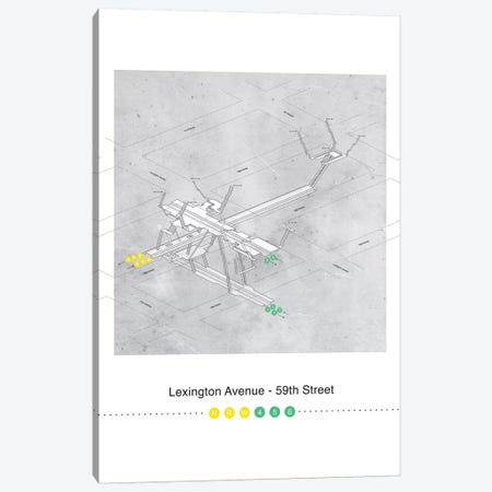Lexington Avenue - 59th Street Station3D Map Poster Canvas Print #PSN80} by Project Subway NYC Canvas Wall Art
