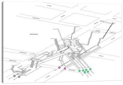 42nd Street Grand Central Station 3D Diagram Canvas Art Print