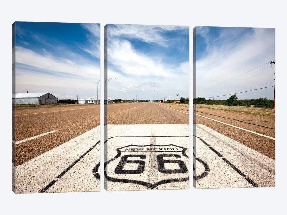 U.S. Route 66 Highway Marker, Tucumcari, Quay County, New Mexico, USA by Paul Souders 3-piece Canvas Art Print
