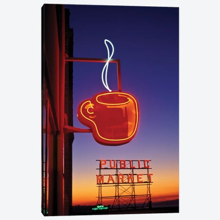 Coffee Cup & Public Market Neon Signs, Pike Place Market, Seattle, Washington, USA Canvas Print #PSO13} by Paul Souders Canvas Artwork