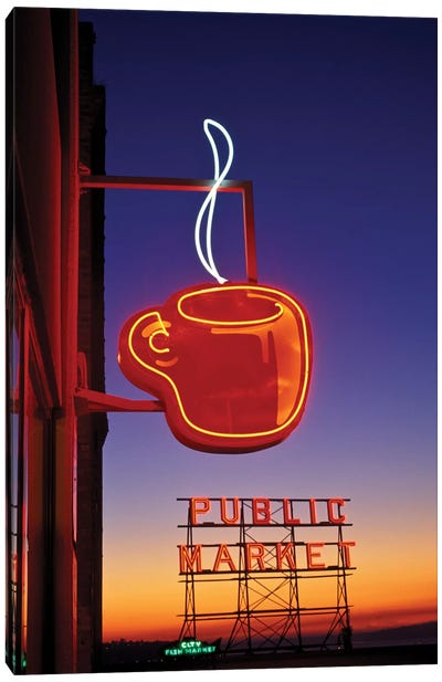 Coffee Cup & Public Market Neon Signs, Pike Place Market, Seattle, Washington, USA Canvas Art Print