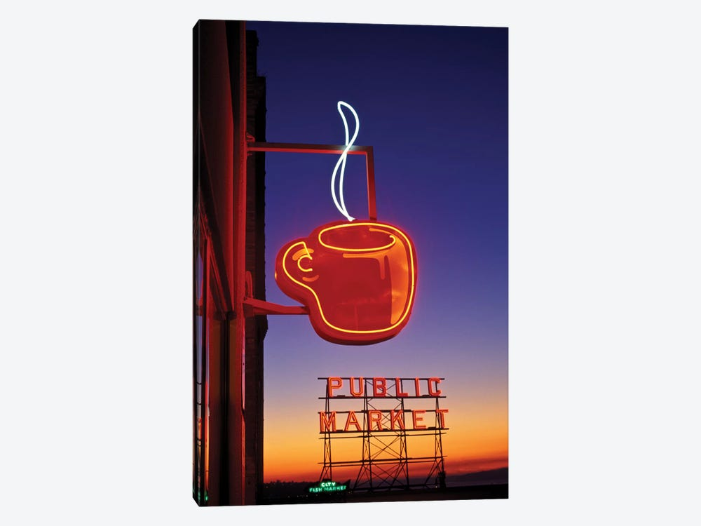 Coffee Cup & Public Market Neon Signs, Pike Place Market, Seattle, Washington, USA by Paul Souders 1-piece Canvas Artwork