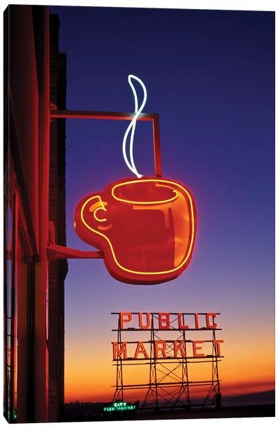 Coffee Cup & Public Market Neon Signs, Pike Place Market, Seattle, Washington, USA Canvas Art Print