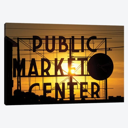 Public Market Center Neon Sign And Clock Silhouette In Front Of A Rising Sun, Pike Place Market, Seattle, Washington, USA Canvas Print #PSO14} by Paul Souders Art Print