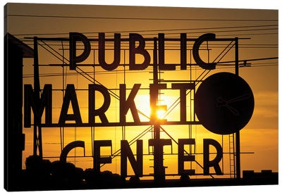 Public Market Center Neon Sign And Clock Silhouette In Front Of A Rising Sun, Pike Place Market, Seattle, Washington, USA Canvas Art Print