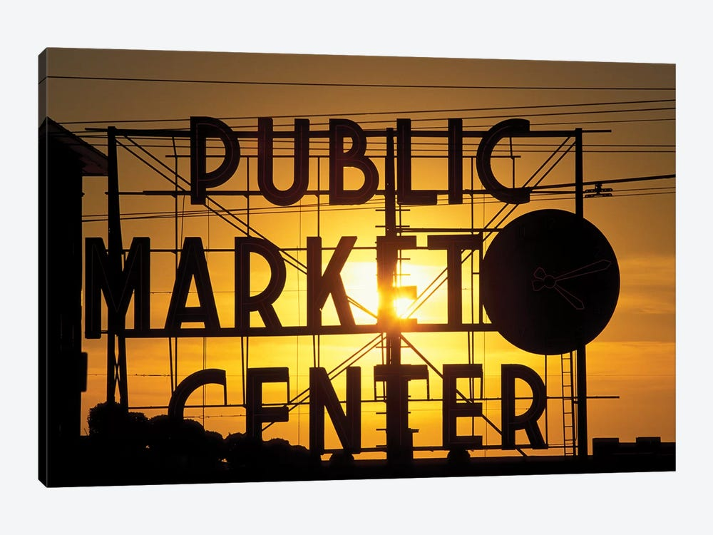 Public Market Center Neon Sign And Clock Silhouette In Front Of A Rising Sun, Pike Place Market, Seattle, Washington, USA by Paul Souders 1-piece Canvas Print