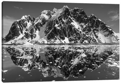 Mountain Reflections In B&W, Lemaire Channel, Antarctica Canvas Art Print