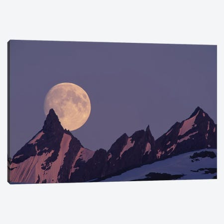 Full Moon Rising Behind The Chugach Mountains, Alaska, USA Canvas Print #PSO5} by Paul Souders Canvas Print