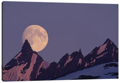 Full Moon Rising Behind The Chugach Mountains, Alaska, USA Canvas Art Print