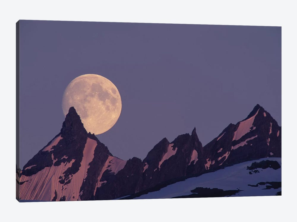 Full Moon Rising Behind The Chugach Mountains, Alaska, USA by Paul Souders 1-piece Canvas Wall Art