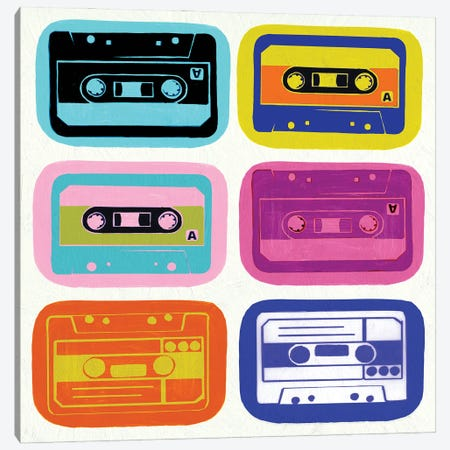 Retro Cassettes Canvas Print #PST1118} by PI Studio Art Print