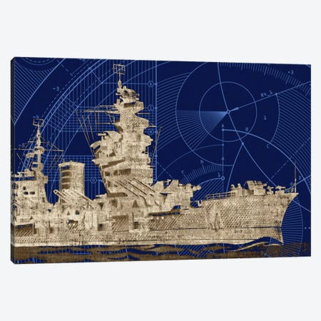 Blueprint Submarine I Canvas Print #PST122} by PI Studio Canvas Art Print