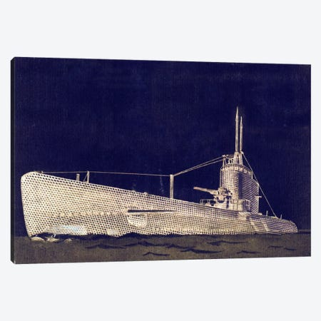 Blueprint Submarine II Canvas Print #PST123} by PI Studio Canvas Art Print