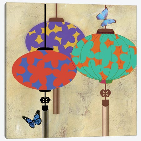 Butterfly Lanterns Canvas Print #PST145} by PI Studio Canvas Artwork