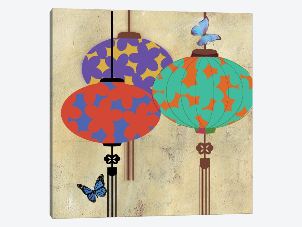 Butterfly Lanterns by PI Studio 1-piece Canvas Wall Art