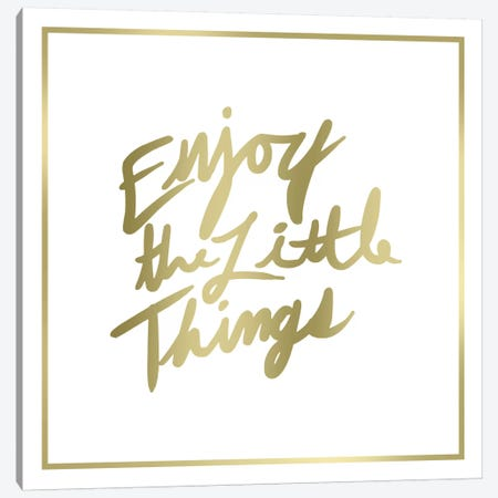 Enjoy The Little Things Border Canvas Print #PST236} by PI Studio Canvas Artwork
