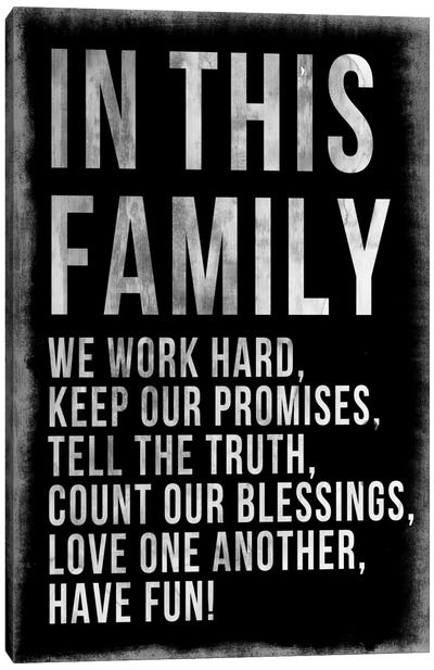 Family Rules Chalkboard Canvas Art Print