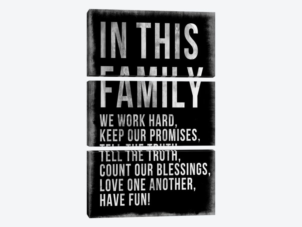 Family Rules Chalkboard by PI Studio 3-piece Canvas Print