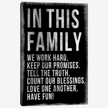 Family Rules Chalkboard Canvas Print #PST248} by PI Studio Canvas Artwork