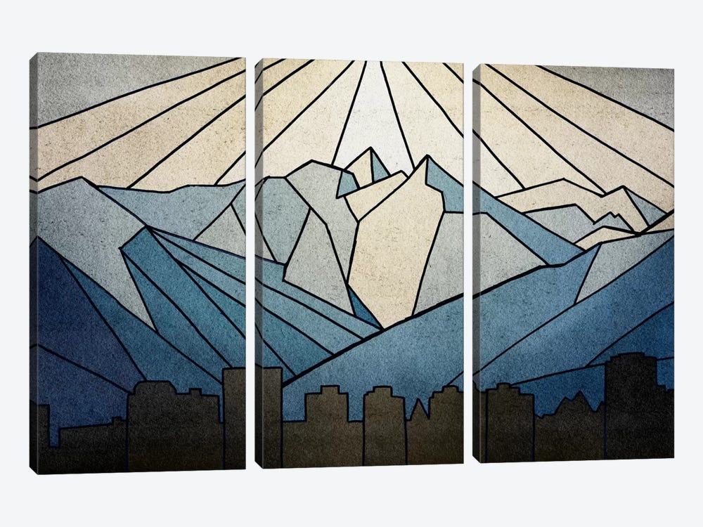 Geometric Mountain 3-piece Canvas Wall Art