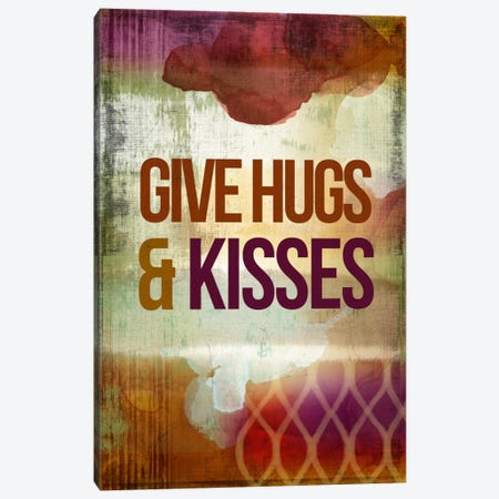 Give Hugs & Kisses Canvas Print #PST297} by PI Studio Canvas Art