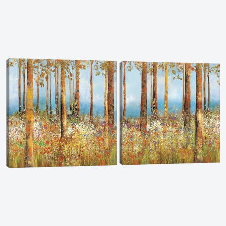 Field Of Flowers Diptych Canvas Print Set #PST2HSET003} by PI Studio Canvas Wall Art