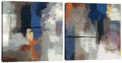 Indigo Touch Diptych Canvas Art Print