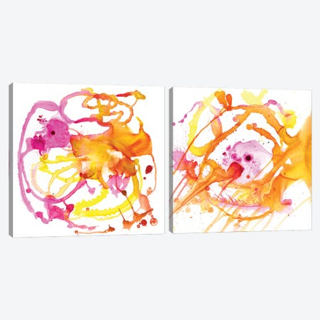 Watercolour Abstract Diptych Canvas Print Set #PST2HSET009} by PI Studio Canvas Artwork