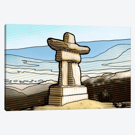 Graphic Inuksuk Canvas Print #PST305} by PI Studio Canvas Wall Art