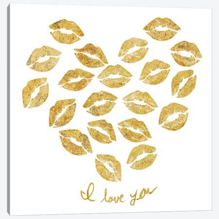I Love You Gold Lips Canvas Print #PST342} by PI Studio Canvas Art Print