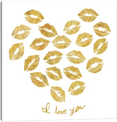 I Love You Gold Lips Canvas Art Print