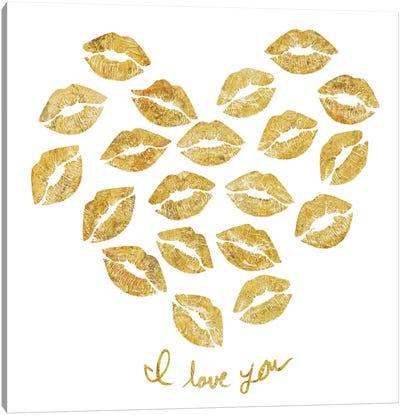 I Love You Gold Lips Canvas Art Print