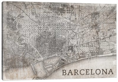 Map Barcelona, Vintage Canvas Art Print