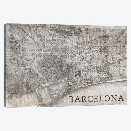 Map Barcelona, Vintage 3-Piece Canvas #PST443} by PI Studio Canvas Artwork