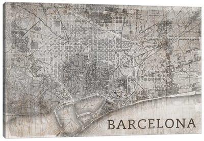 Map Barcelona, Vintage Canvas Art Print