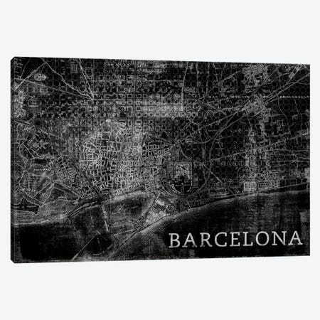Map Barcelona, Vintage In Black 3-Piece Canvas #PST444} by PI Studio Canvas Art Print